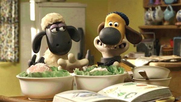 Shaun und Bitzer wollen für den Farmer und seine Freundin ein tolles Essen kochen.   Rechte: WDR/Aardman Animation Ltd./BBC