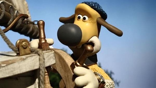Bitzer macht sich als Steuermann des Schiffs gar nicht schlecht. | Rechte: WDR/Aardman Animation Ltd./BBC