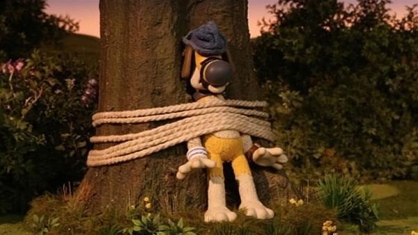 Der Wachhund gefangen an einem Baum. Was ist denn da passiert? | Rechte: WDR/Aardman Animation Ltd./BBC
