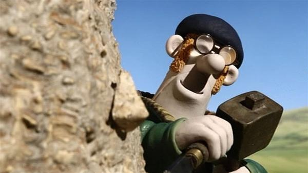 Mit Hammer und Meißel macht er sich ans Werk. Ist der Farmer etwa ein Künstler? | Rechte: WDR/Aardman Animation Ltd./BBC