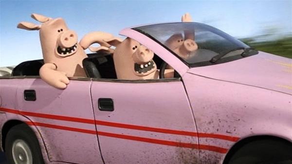 Auch die Schweine sind im Rausch der Geschwindigkeit. Wohin wollen sie denn fahren? | Rechte: WDR/Aardman Animation Ltd./BBC
