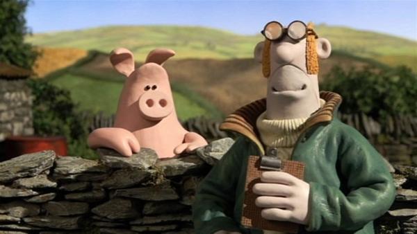 Bitzer liegt krank im Bett und der Bauer gibt den Schweinen die Aufsicht über die Schafe.   Rechte: WDR/Aardman Animation Ltd./BBC