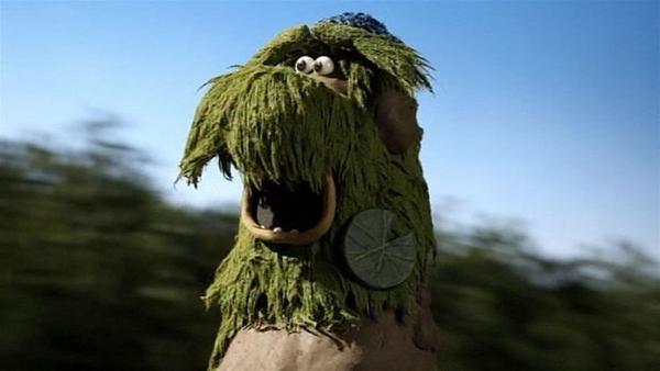 Huch, was ist denn das? Ein grünes Monster! | Rechte: WDR/Aardman Animation Ltd./BBC
