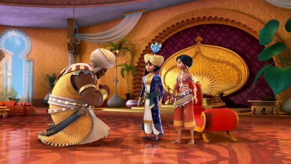 Der Sultan der Goldenen Stadt ist tot und sein jüngster Sohn Karim wird der neue Sultan. | Rechte: rbb/Hahn Film AG/Chocolate Liberation Front Pty Ltd/Toonz Entertainment Pte Ltd