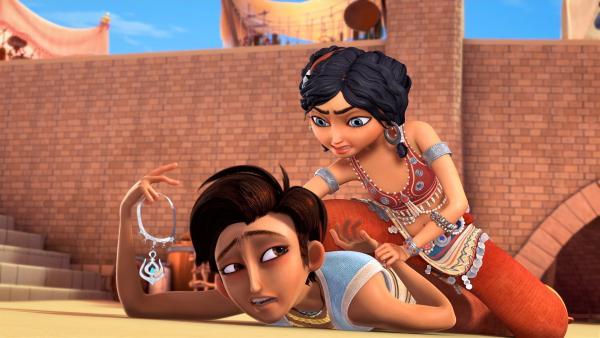 Sherazade findet beim Straßendieb Aladin ihr Amulett wieder.  | Rechte: rbb/Hahn Film AG/Chocolate Liberation Front Pty Ltd/Toonz Entertainment Pte Ltd