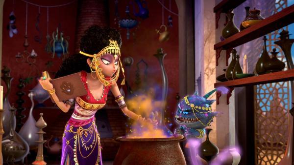 Dunyazad, die Herrin der schwarzen Magie, bereitet einen Zaubertrunk vor. | Rechte: rbb/Hahn Film AG/Chocolate Liberation Front Pty Ltd/Toonz Entertainment Pte Ltd