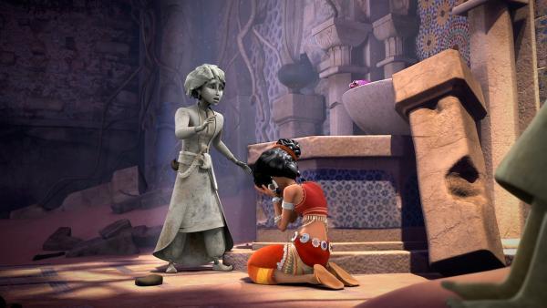 Sherazade ist verzweifelt: Karim ist in eine Statue verwandelt worden.   Rechte: rbb/Hahn Film AG/Chocolate Liberation Front Pty Ltd/Toonz Entertainment Pte Ltd