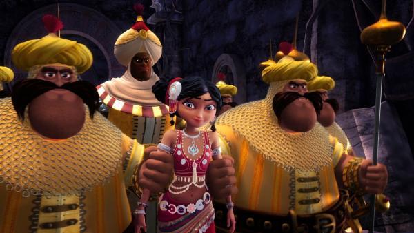 Sherazade lässt sich von Osman und seinen Wachen festnehmen. Sie hat nämlich einen neuen Plan. | Rechte: rbb/Hahn Film AG/Chocolate Liberation Front Pty Ltd/Toonz Entertainment Pte Ltd