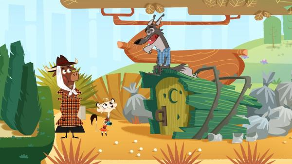 Sherlock Yack und Hermione verhören den verdächtigen Kojoten. | Rechte: ZDF/Mondo tv
