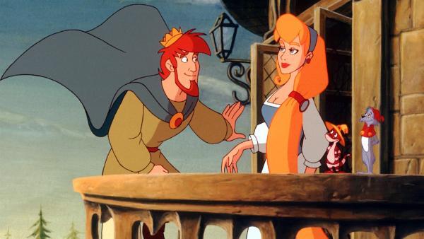 Der schüchterne Prinz ist zu Rapunzel auf den Turm gestiegen. | Rechte: NDR/Greenlight Media AG