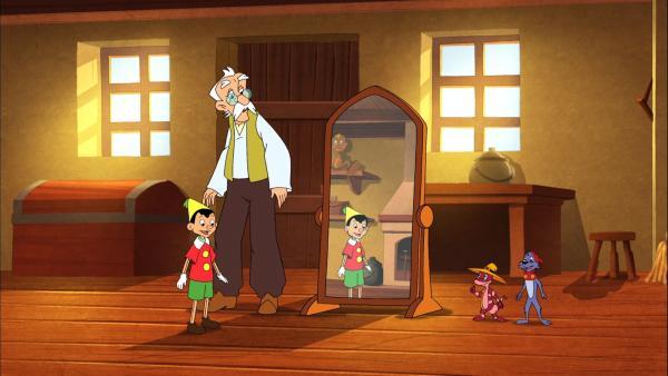 Der Meister stellt Pinocchio und Doc Croc und Yoyo einander vor. | Rechte: NDR/Greenlight Media AG