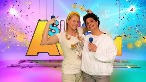 Singa mit ihrem Studiogast Tanja Tahmassebi | Rechte: ZDF/MES GmbH