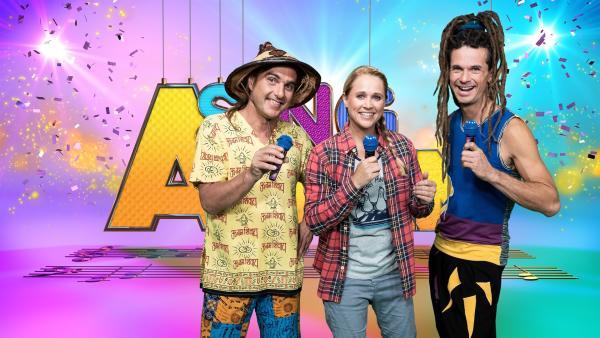 """Moderatorin Singa hat """"Rodscha und Tom"""" zu Gast.   Rechte: ZDF/MES GmbH Wiesbaden"""