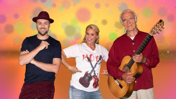 SingAlarm: Moderatorin Singa mit Max Mutzke (links) und Fredrik Vahle (rechts). Fredrik Vahle hat eine Gitarre in der Hand, alle lachen in die Kamera. | Rechte: MES