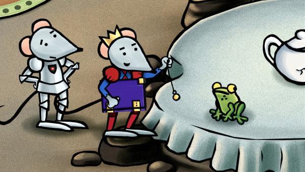 Prince zeigt Mouse, wie man einen Frosch hypnotisiert.   Rechte: SWR/scopas medien AG