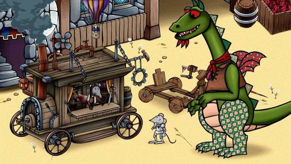 Mouse und Dragon lernen auf dem Markt einen Erfinder kennen.   Rechte: SWR/scopas medien AG