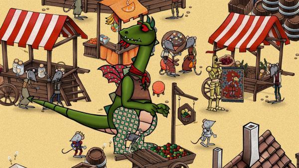 Mouse und Dragon suchen auf dem Markt nach schönen Dingen für ihre Höhle. | Rechte: SWR/scopas medien AG