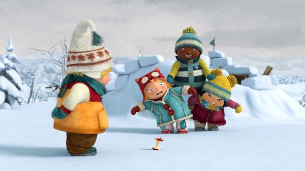 Die Freunde finden den letzten Rest des Frostapfels. | Rechte: KiKA/carpediem Film & TV Inc.