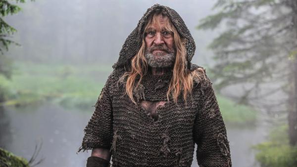 Vor dem Hintergrund eines Waldsees, der in eine Wiese ausläuft steht der Eisenhans (Michael Mendl). Er trägt Bart, eine weite Kapuze über dem Kopf, hat lange, blonde Haare und trägt ein schmutzig-braun wirkendes Gewand. | Rechte: ZDF
