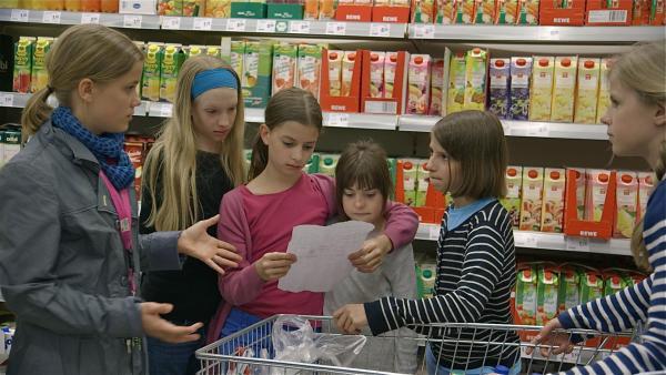 Sophie, Lotti, Anna, Charlotta, Paula und April beim Einkaufen. | Rechte: ZDF/EBU