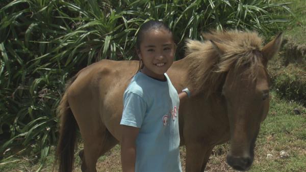 Uruné hat sich in das Pony Sango verliebt. Sango lebt wild in den Wäldern der kleinen Insel. Wird es Uruné gelingen, Sango zu sich nach Hause zu holen? | Rechte: ZDF/Jin Harada
