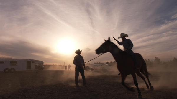 Crowley muss hart trainieren, bevor er auf den Rücken eines 500 Kilo Stieres steigen kann. | Rechte: ZDF/Tom Bergmann
