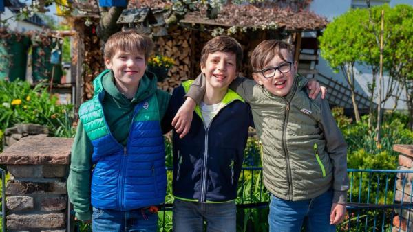 Amerikanische Einstellung von drei Jungen, die nebeneinander stehen, in die Kamera lachen und sich gegenseitig die Arme um die Schultern legen. Sie tragen Jeans und Jacken in blau und grün. Der Junge rechts trägt eine schwarze Brille. Im Hintergrund ein blauer Gartenzaun und dahinter grüne Büsche, ein Holzschober, gelb blühende Blumen und Vogelhäuschen, die in einem weiß blühenden Baum hängen. | Rechte: ZDF