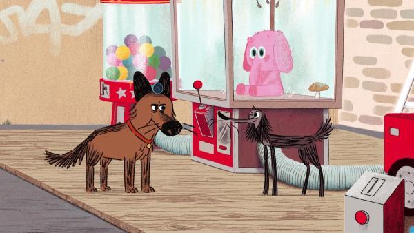 Stinki soll die Nachtwache für Wachhund Schimmi übernehmen und auf Spielautomaten aufpassen. Doch er nimmt seine Aufgabe nicht ganz so ernst wir Schimmi. | Rechte: SWR/Dandelooo