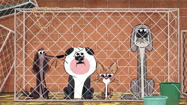 Stinki und seine Freunde sind von den Hundefängern geschnappt worden. | Rechte: SWR/Dandelooo