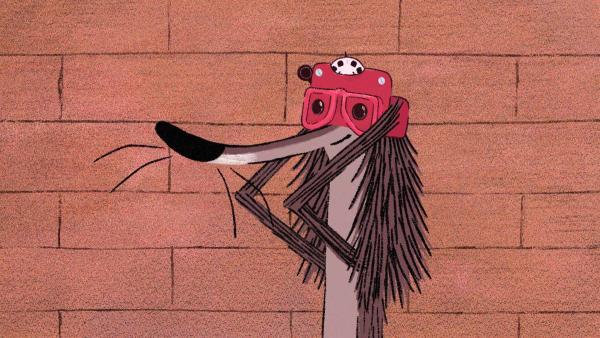Stinki hat einen Dia-Betrachter in der Mülltonne gefunden. | Rechte: SWR/Dandelooo