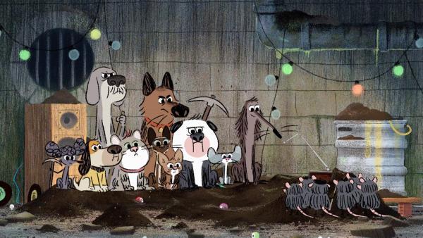 Auf der Suche nach einem Schatz sind Stinki und seine Freunde in der Kanalisation gelandet.   Rechte: SWR/Dandelooo