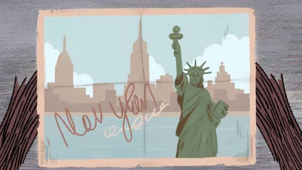 Stinki erhält eine Postkarte aus Amerika. | Rechte: SWR/Dandelooo