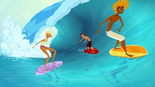Endlich Sommerferien - Die Teenies Fin, Reef und Broseph im Surferparadies! | Rechte: KI.KA/Fresh TV/Cake Entertainment