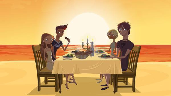 Lo (li.) zwingt Reef (2.v.li.) zu einer Scheinbeziehung, um so Curtis (re.) eifersüchtig zu machen. | Rechte: KiKA/Fresh TV/Cake Entertainment