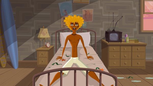 Broseph schreckt aus dem Schlaf. | Rechte: KiKA/Fresh TV/Cake Entertainment