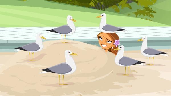 Ein schrecklicher pazifischer Wirbelsturm rast unaufhaltsam auf das kleine Paradies Sunset Island zu, der nicht nur im Hotel ein Durcheinander hinterlässt. | Rechte: KiKA/Fresh TV/Cake Entertainment