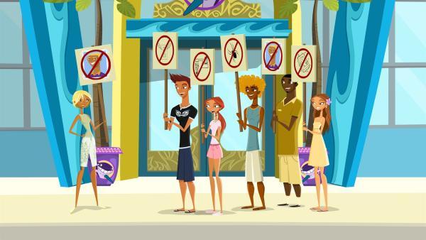 Da die sanitären Zustände der Bedienstetenunterkunft stark zu wünschen übrig lassen, streikt die Juniorcrew. | Rechte: KiKA/Fresh TV/Cake Entertainment