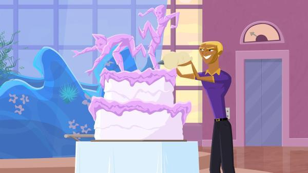Bummers sehnlichster Wunsch geht in Erfüllung. Er darf Reef feuern. | Rechte: KiKA/Fresh TV/Cake Entertainment