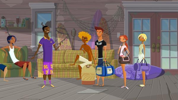 Johnny von der Rezeption bringt die Neuankömmlinge zu ihren Schlafstätten. | Rechte: KiKA/Fresh TV/Cake Entertainment
