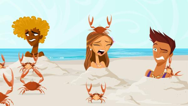 Um zum geheimen Surfstrand zu gelangen müssen (v.li.n.re.) Broseph, Emma und Reef Tests bestehen. | Rechte: KiKA/Fresh TV/Cake Entertainment