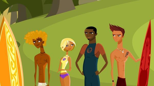 Broseph, Fin, Johnny und Reef sind sich sicher: niemand Fremdes darf den geheimen Surfstrand betreten! | Rechte: KiKA/Fresh TV/Cake Entertainment