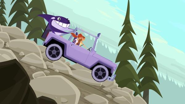 Emma, Lo und Maskottchen Wipeout haben es eilig. | Rechte: KiKA/Fresh TV/Cake Entertainment