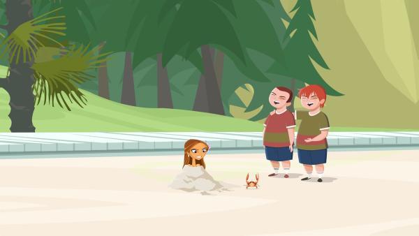 Lo muss auf Mark und Todd, die grausamen Kinder zweier Hotelgäste aufpassen.   Rechte: KiKA/FreshTV/Cake Entertainment
