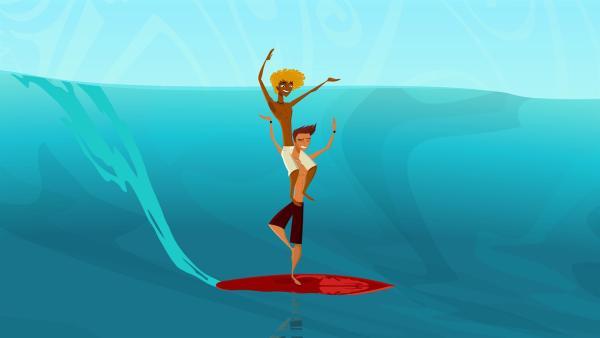 Broseph und Reef trainieren für den Tandem-Surfwettbewerb. | Rechte: KiKA/FreshTV/Cake Entertainment