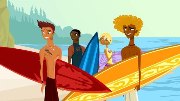 Reef, Johnny, Fin und Broseph (v.re.n.li.) vor einer Surf-Session | Rechte: KiKA/FreshTV/Cake Entertainment