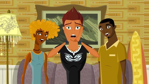 Reef und seine Freunde Johnny und Broseph können es nicht fassen: Reefs Mutter kommt zu Besuch! | Rechte: KiKA/FreshTV/Cake Entertainment