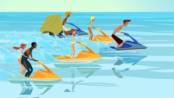 Mit allen Mitteln versuchen Emma, Johnny, Broseph, Lo, Fin und Reef, die schwimmende Insel Captain Rons zu zerstören, die für die tagelange Flaute verantwortlich ist. | Rechte: KiKA/FreshTV/Cake Entertainment