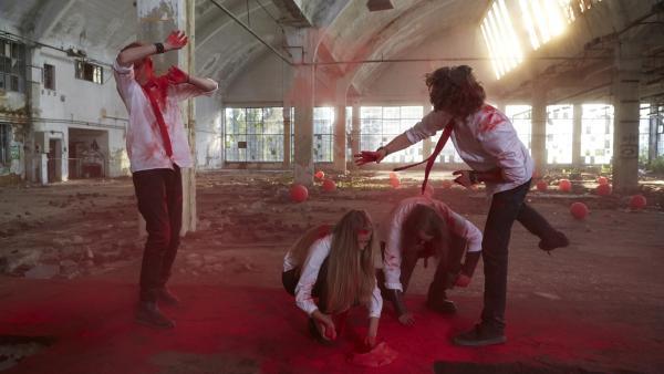 Ob Rokkin' Ratshit mit ihrem durchgeknallten Musikvideo den Band-Wettbewerb gewinnen können? | Rechte: KiKA/FEEDMEE