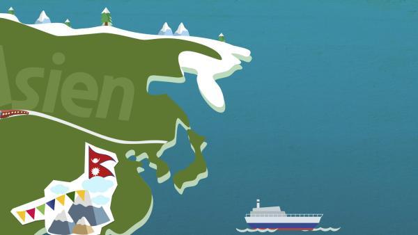 grafische Darstellung von Asien | Rechte: KiKA