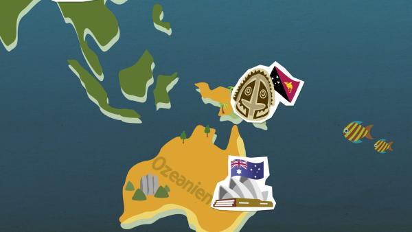 grafische Darstellung von Ozeanien | Rechte: KiKA